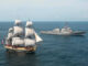 Tall Ship and Modern Warship