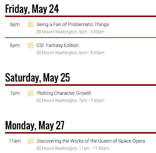 Balticon 2019 Schedule